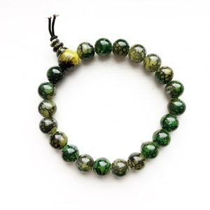 Green & yellow beaded elastic bracelet